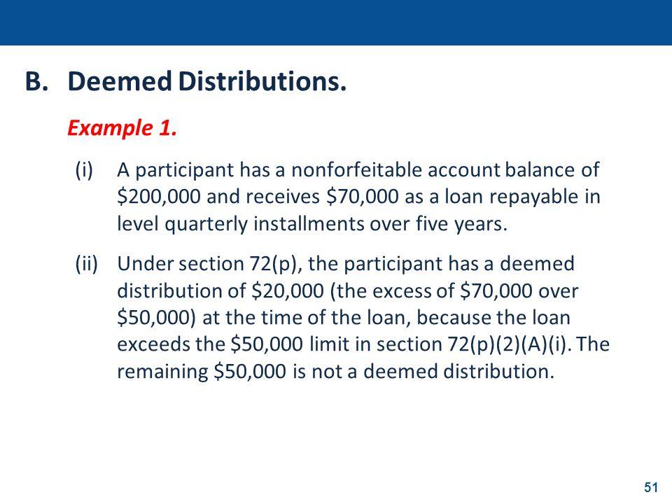 B. Deemed Distributions.