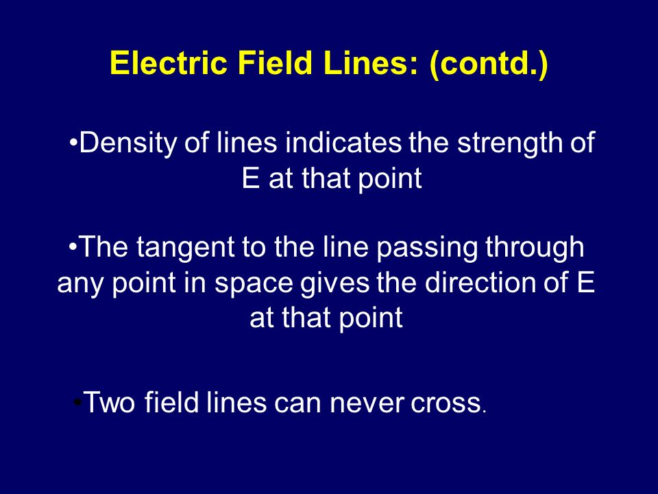 Electric Field Lines: (contd.)