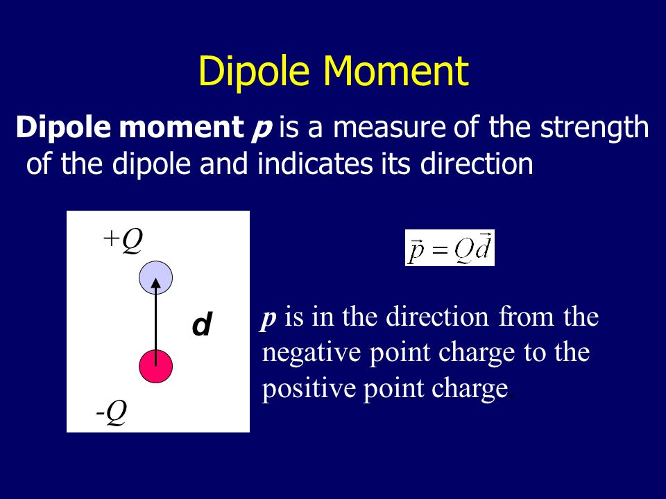 Dipole Moment d Dipole moment p is a measure of the strength