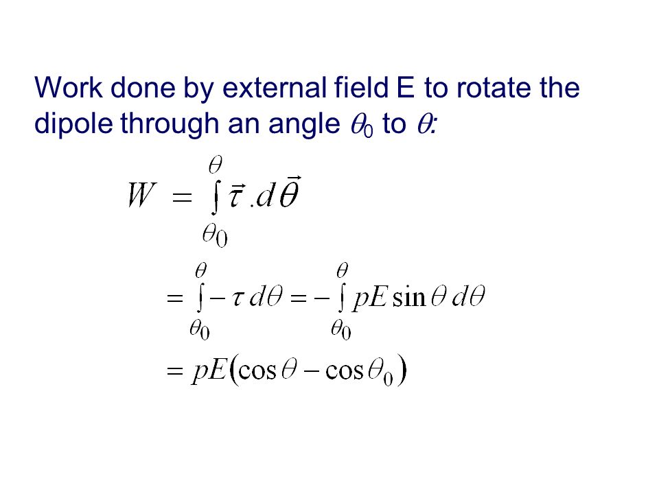 Work done by external field E to rotate the dipole through an angle 0 to :