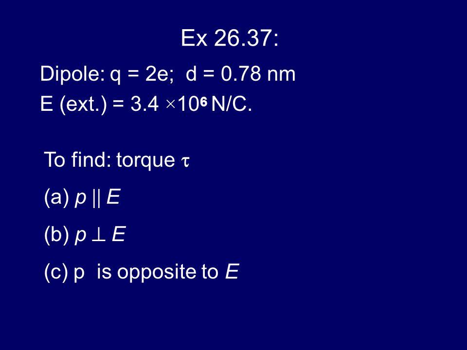 Ex 26.37: Dipole: q = 2e; d = 0.78 nm E (ext.) = 3.4 ×106 N/C.
