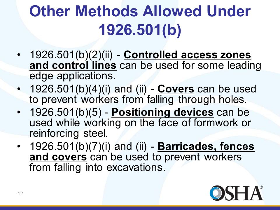 Other Methods Allowed Under 1926.501(b)