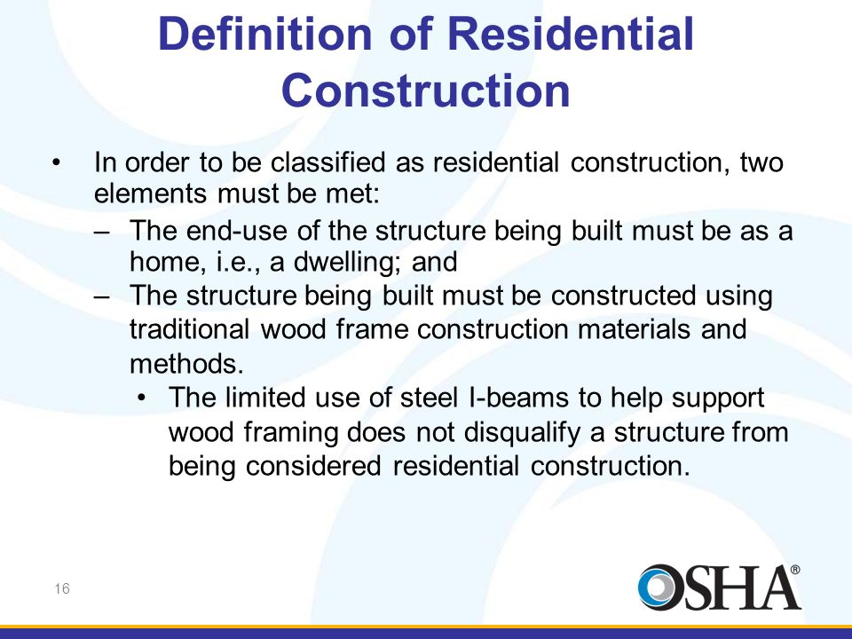 Definition of Residential Construction