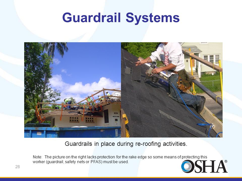Guardrails in place during re-roofing activities.