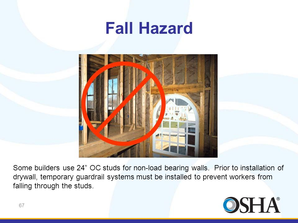 Fall Hazard Falling from roofs is not the only area where fatalities have occurred. Open sides like this must be protected.