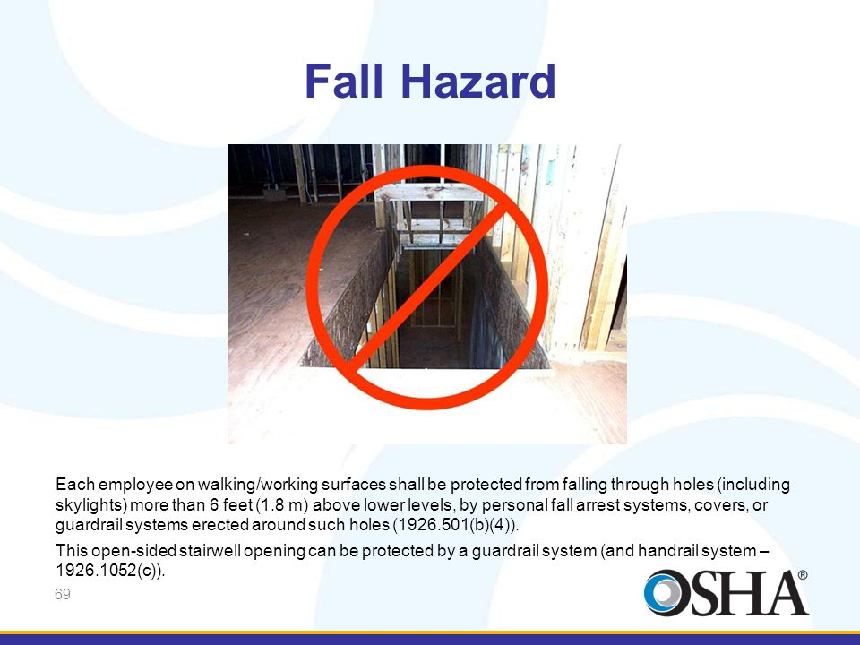 Fall Hazard And, this open-sided stairwell opening must be protected.