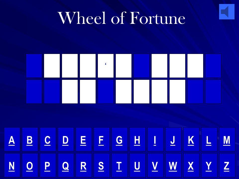 Wheel of Fortune C A N T B U Y M E L O V E A B C D E F G H I J K L M N