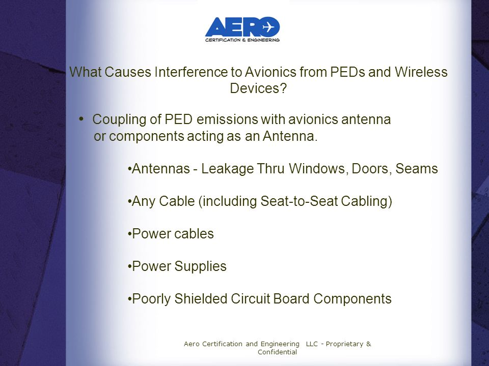 Coupling of PED emissions with avionics antenna