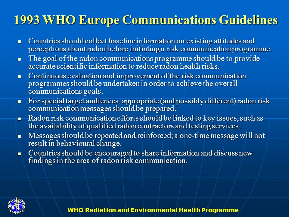 1993 WHO Europe Communications Guidelines