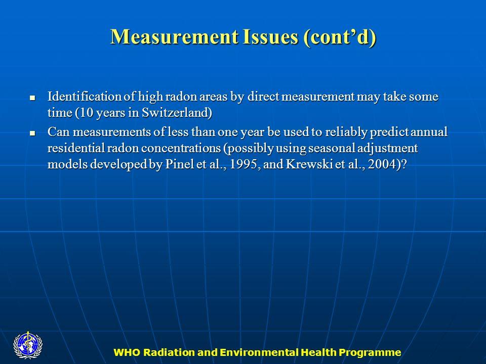 Measurement Issues (cont'd)