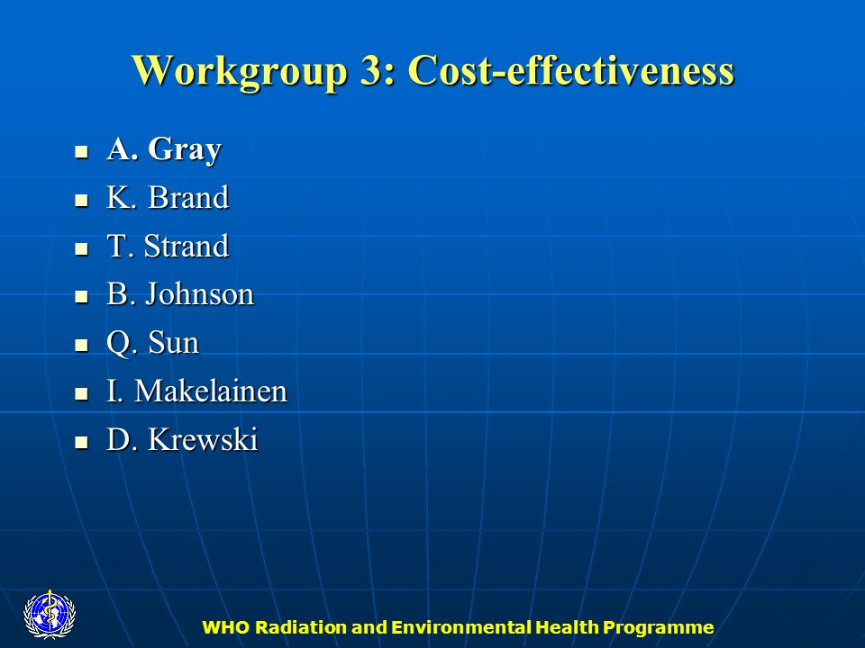Workgroup 3: Cost-effectiveness