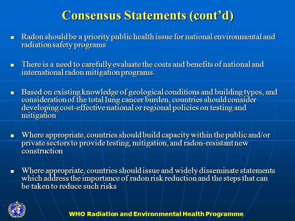 Consensus Statements (cont'd)