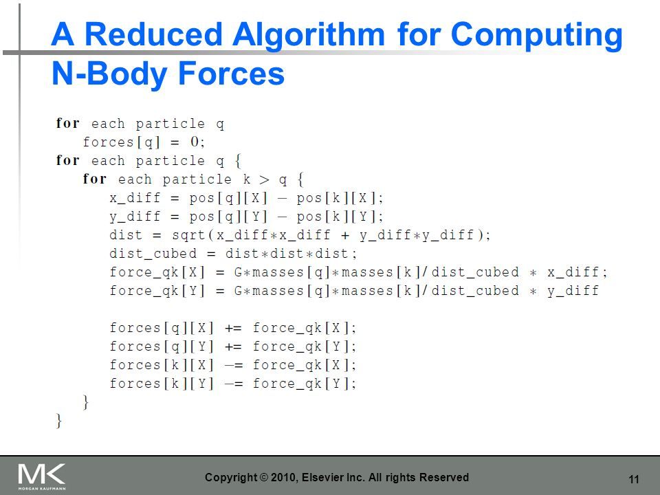 A Reduced Algorithm for Computing N-Body Forces