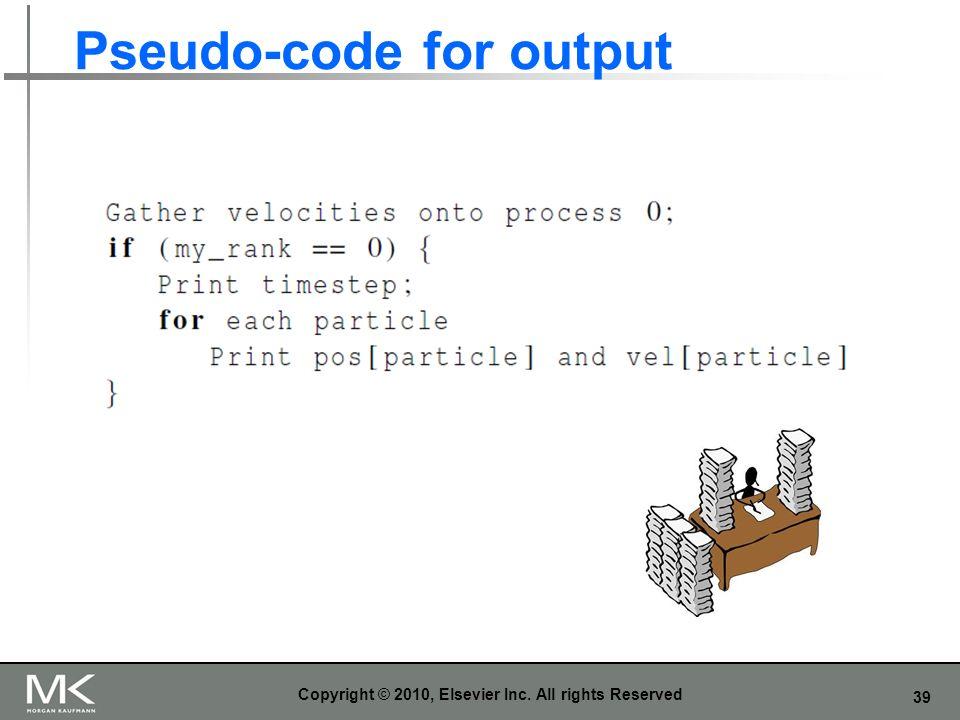 Pseudo-code for output