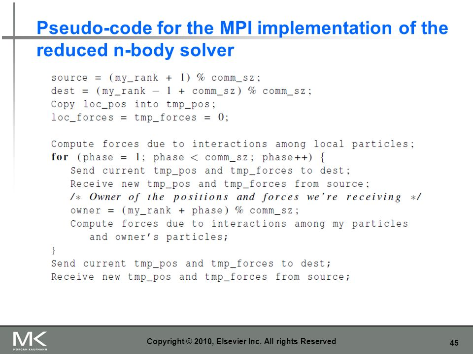 Pseudo-code for the MPI implementation of the reduced n-body solver