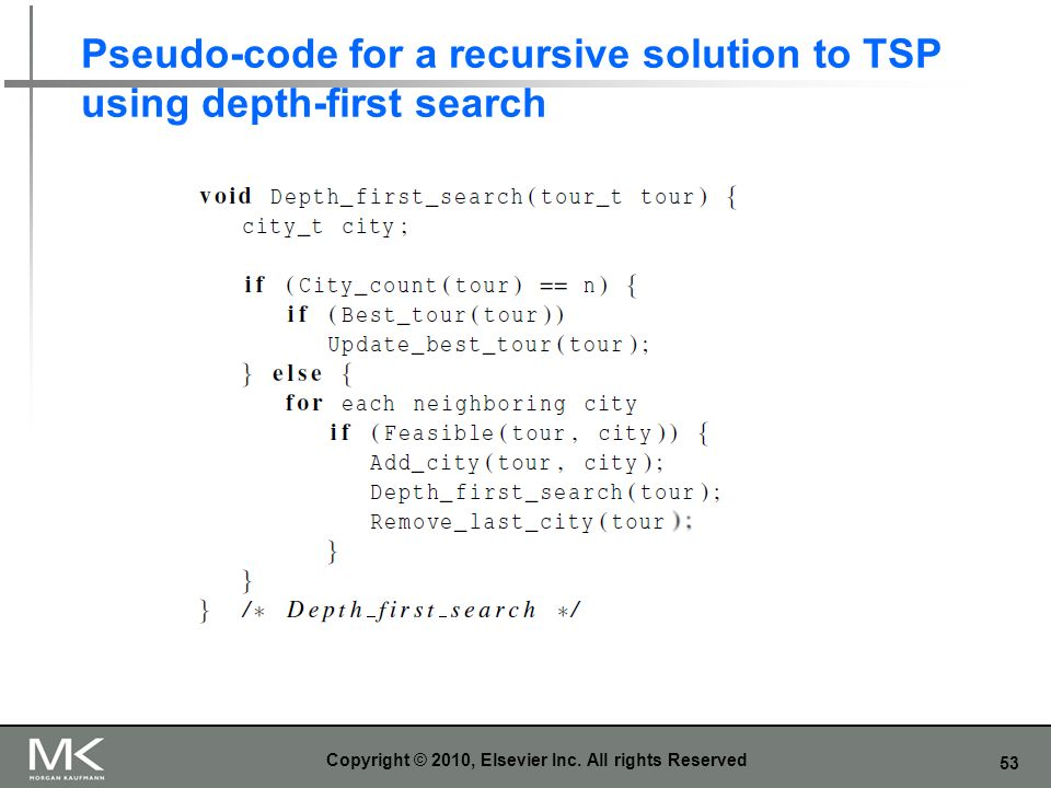 Pseudo-code for a recursive solution to TSP using depth-first search