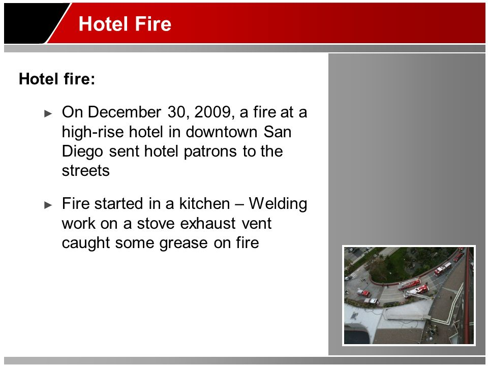 Hotel Fire Hotel fire: On December 30, 2009, a fire at a high-rise hotel in downtown San Diego sent hotel patrons to the streets.