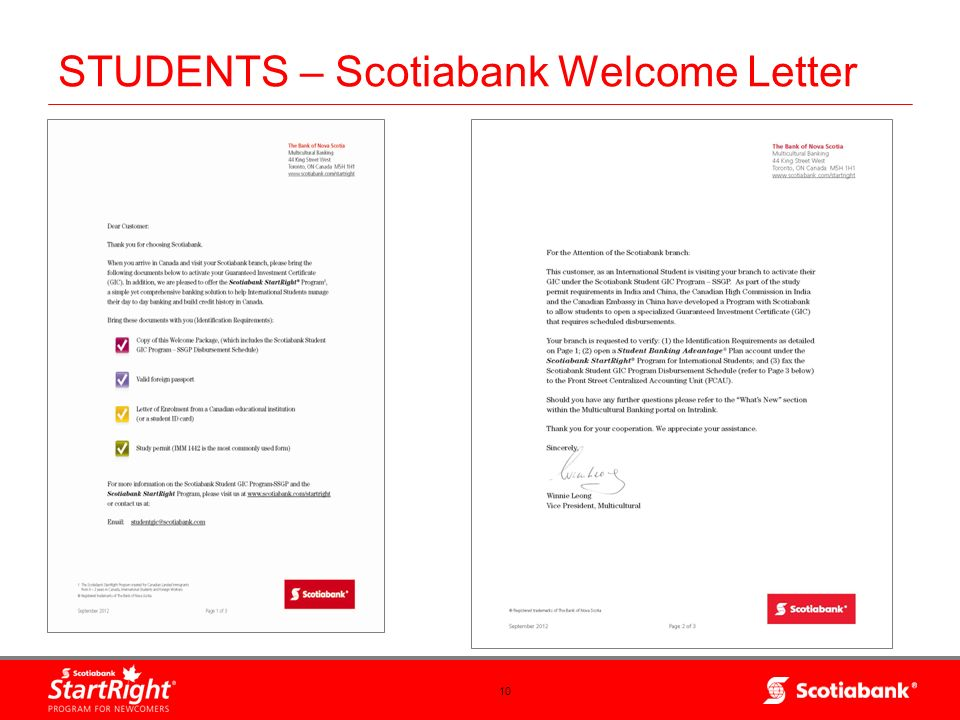 STUDENTS – Scotiabank Welcome Letter