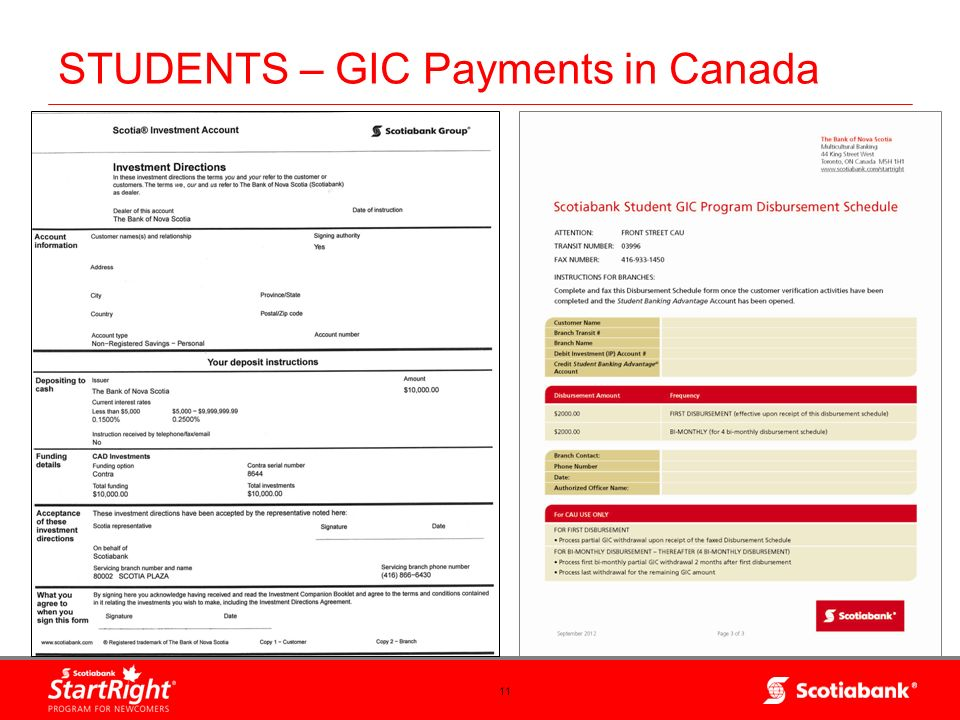 STUDENTS – GIC Payments in Canada