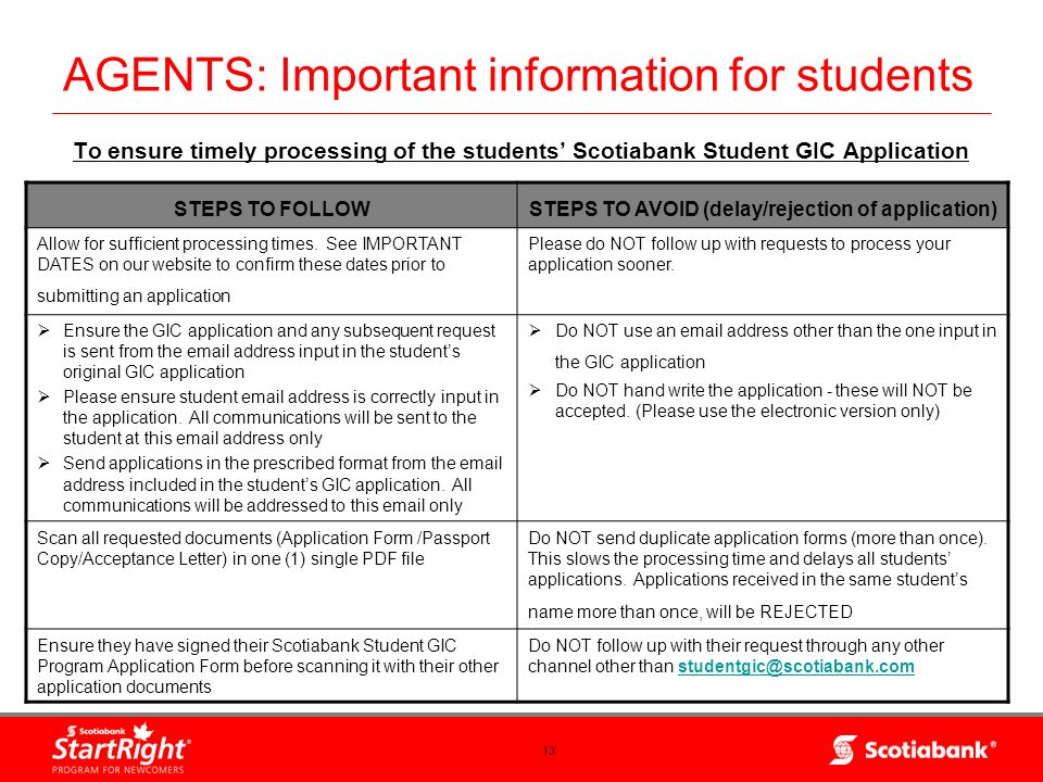 AGENTS: Important information for students