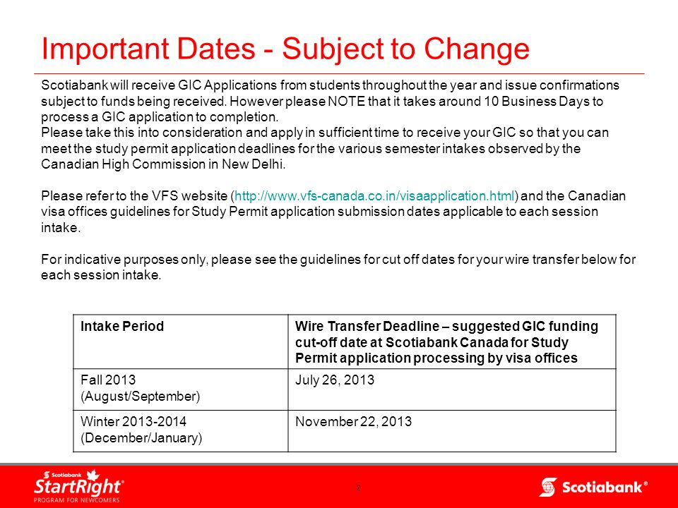 Important Dates - Subject to Change