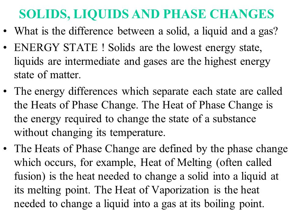 SOLIDS, LIQUIDS AND PHASE CHANGES