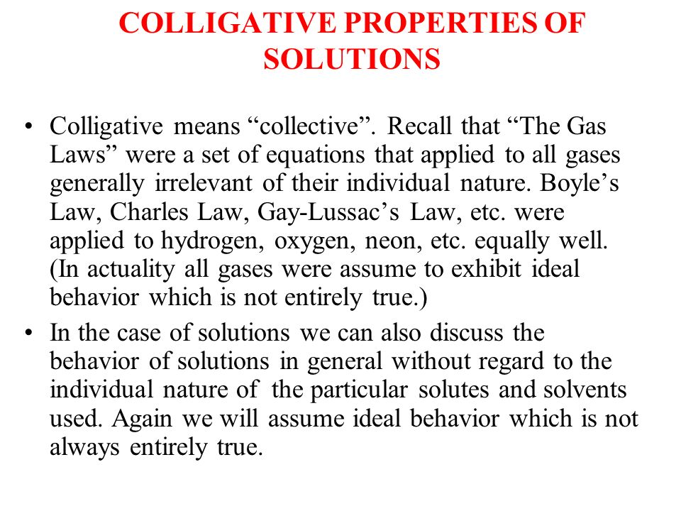 colligative solutions Colligative properties worksheet 1) if i add 45 grams of sodium chloride to 500 grams of water, what will the melting and boiling points be of the resulting solution.
