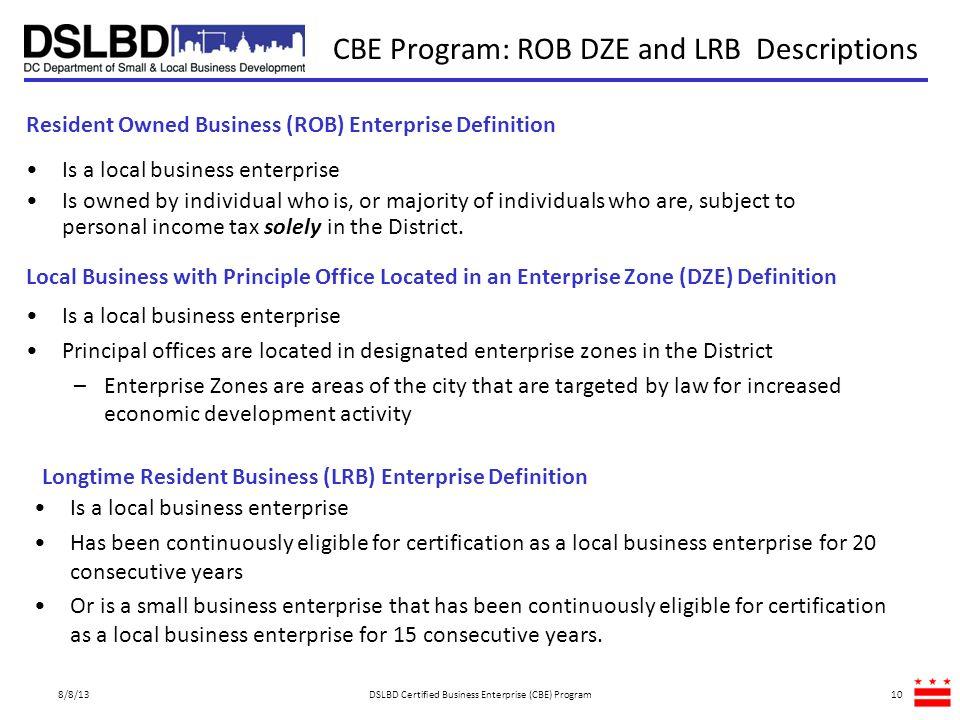 CBE Program: ROB DZE and LRB Descriptions