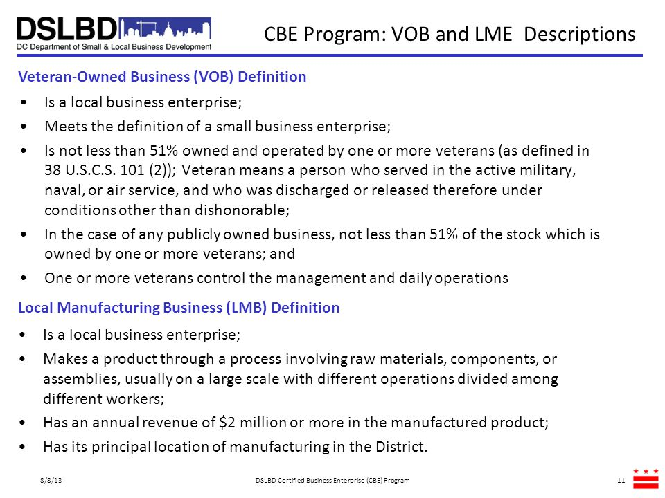 CBE Program: VOB and LME Descriptions