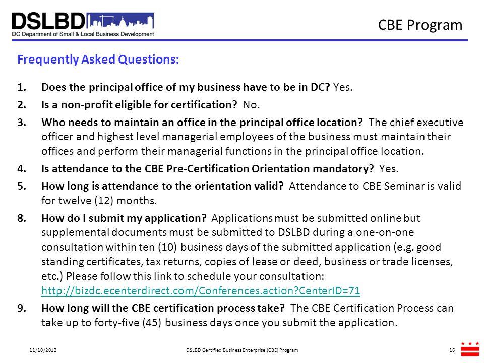 DSLBD Certified Business Enterprise (CBE) Program