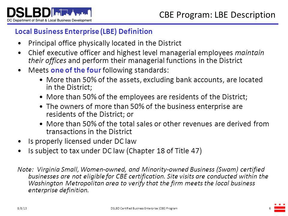 CBE Program: LBE Description
