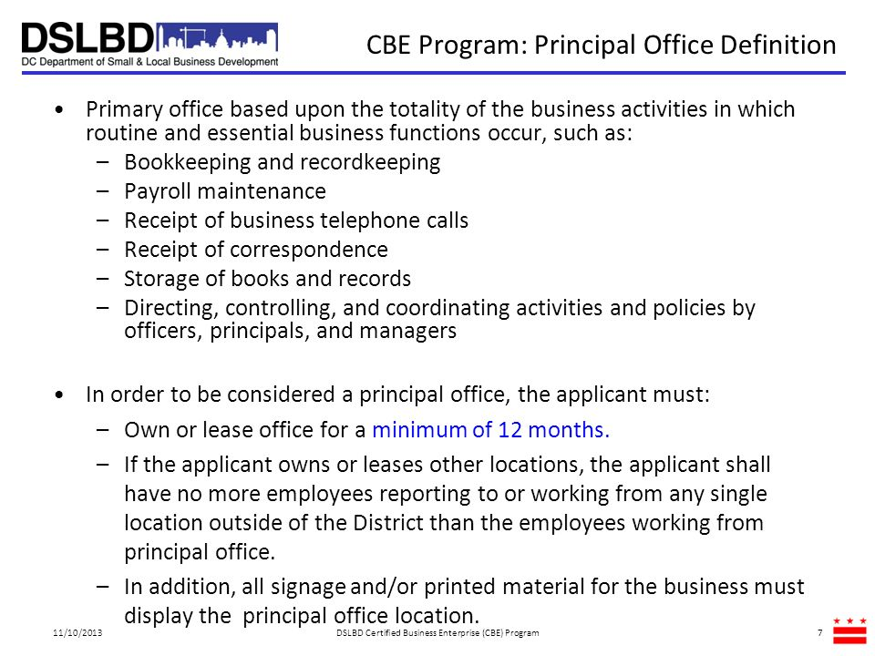 CBE Program: Principal Office Definition