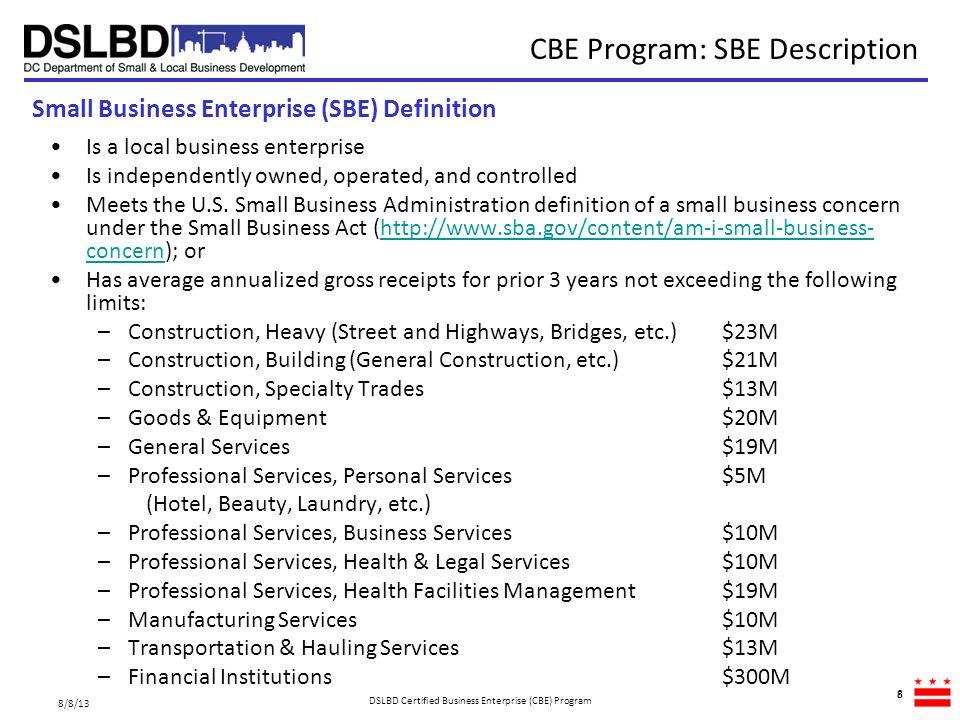 CBE Program: SBE Description