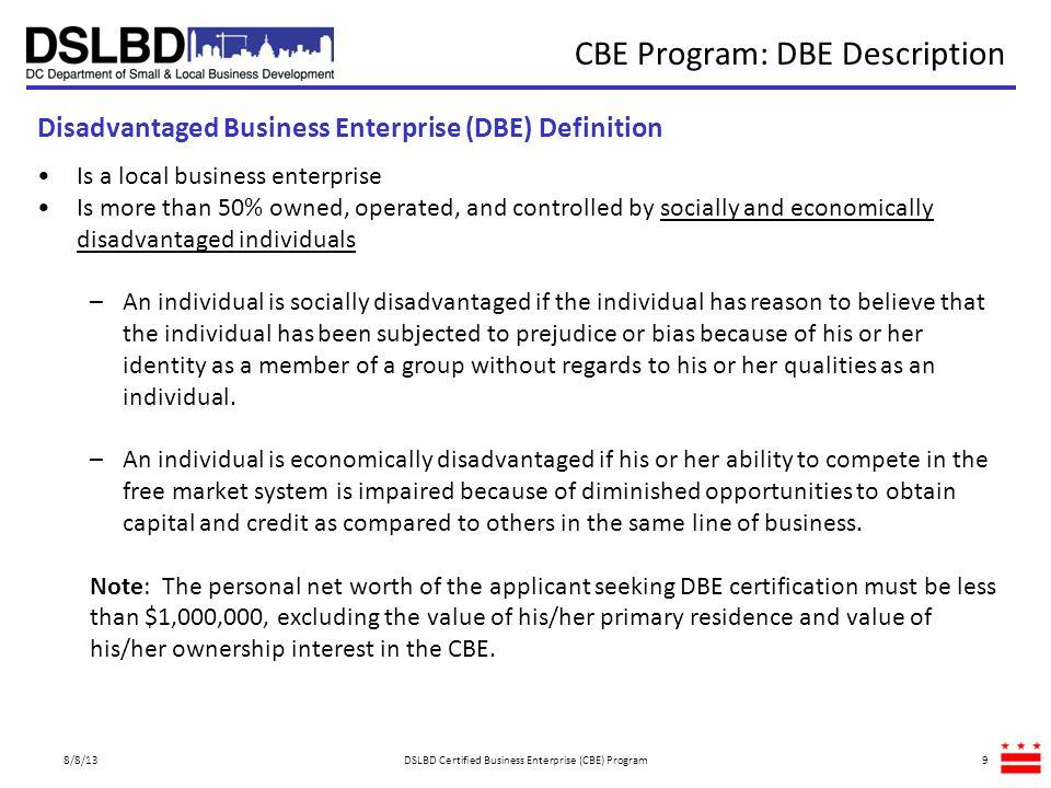 CBE Program: DBE Description