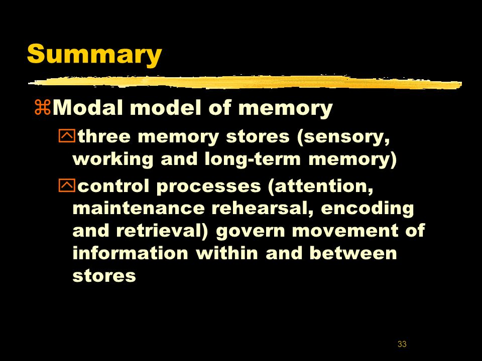 Summary Modal model of memory