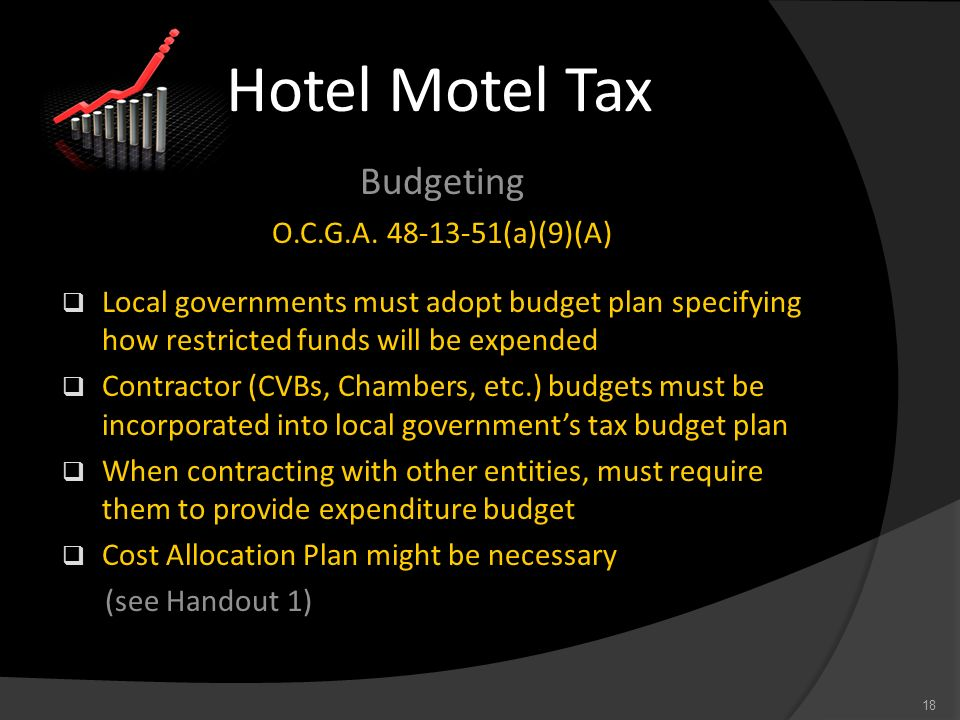 Hotel Motel Tax Budgeting O.C.G.A. 48-13-51(a)(9)(A)