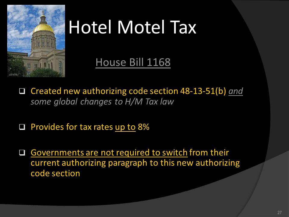 Hotel Motel Tax House Bill 1168