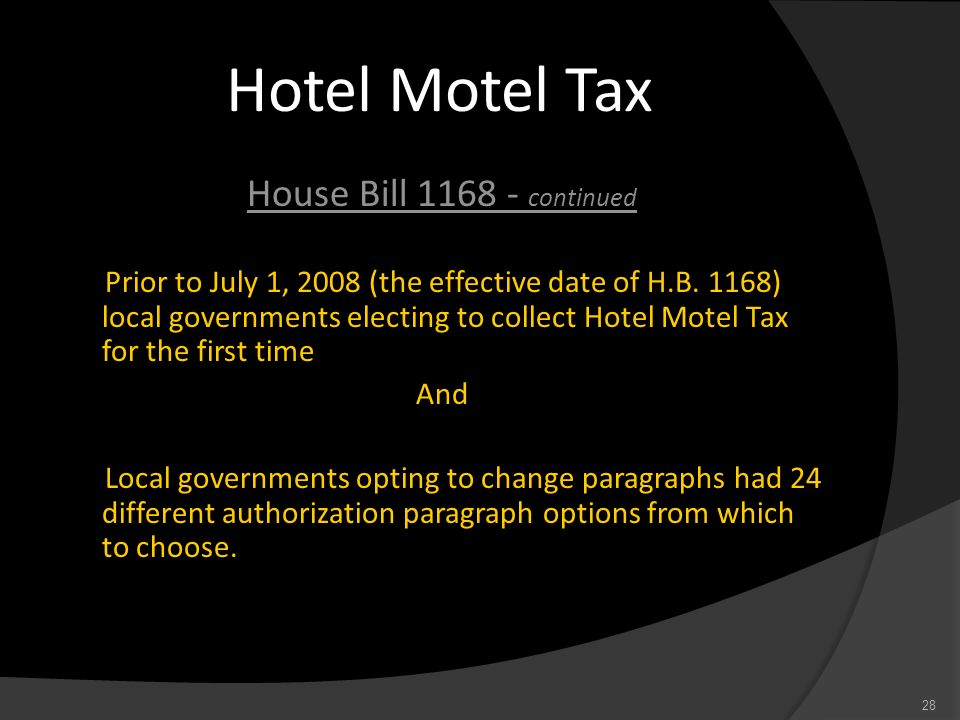 Hotel Motel Tax House Bill 1168 - continued