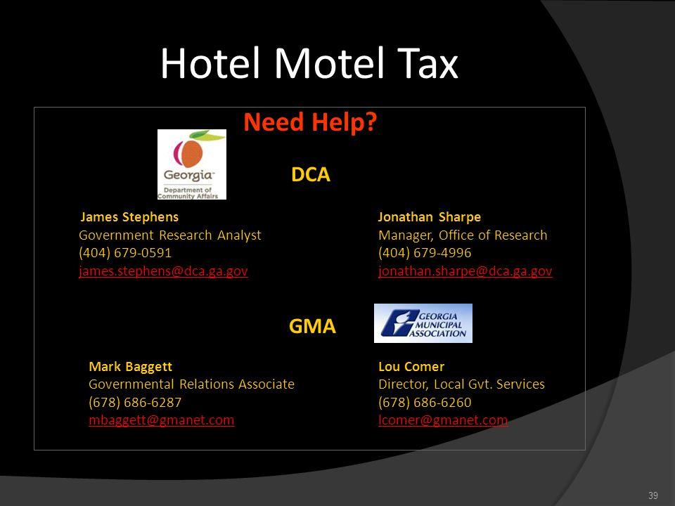 Hotel Motel Tax Need Help DCA James Stephens Jonathan Sharpe