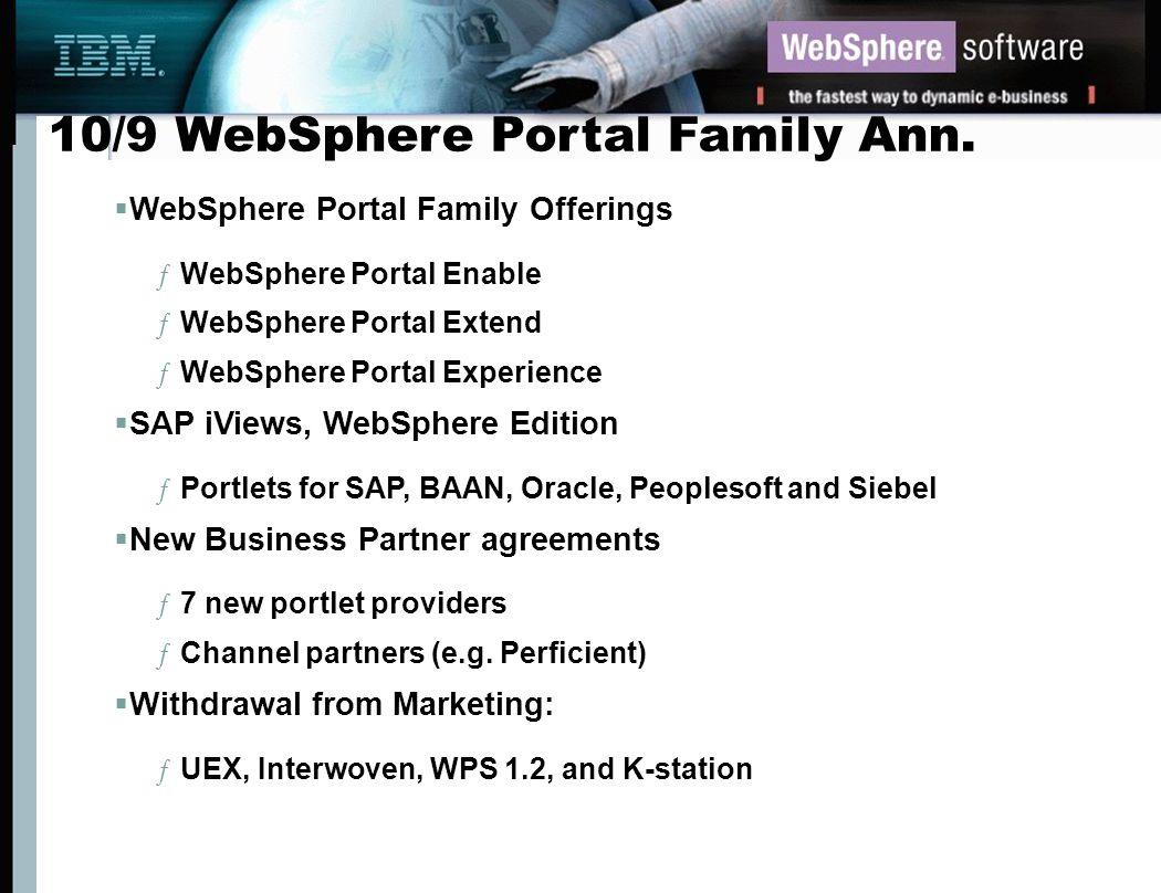 10/9 WebSphere Portal Family Ann.