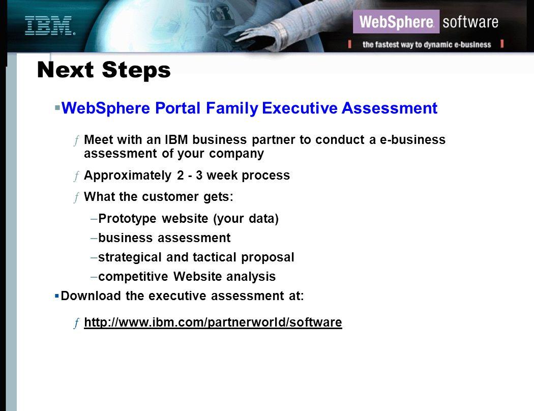 Next Steps WebSphere Portal Family Executive Assessment
