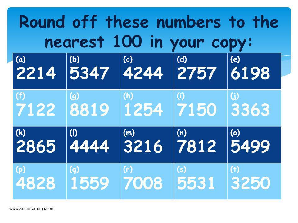 Round off these numbers to the nearest 100 in your copy:
