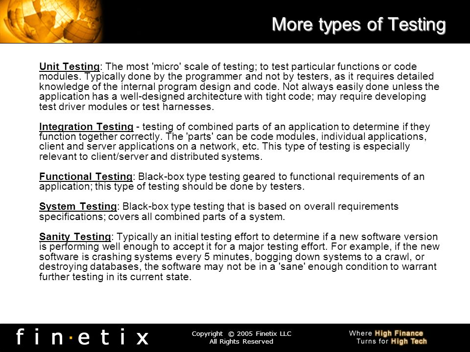 More types of Testing