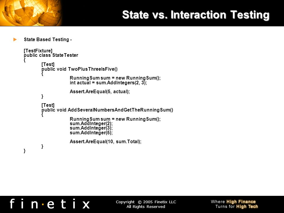 State vs. Interaction Testing