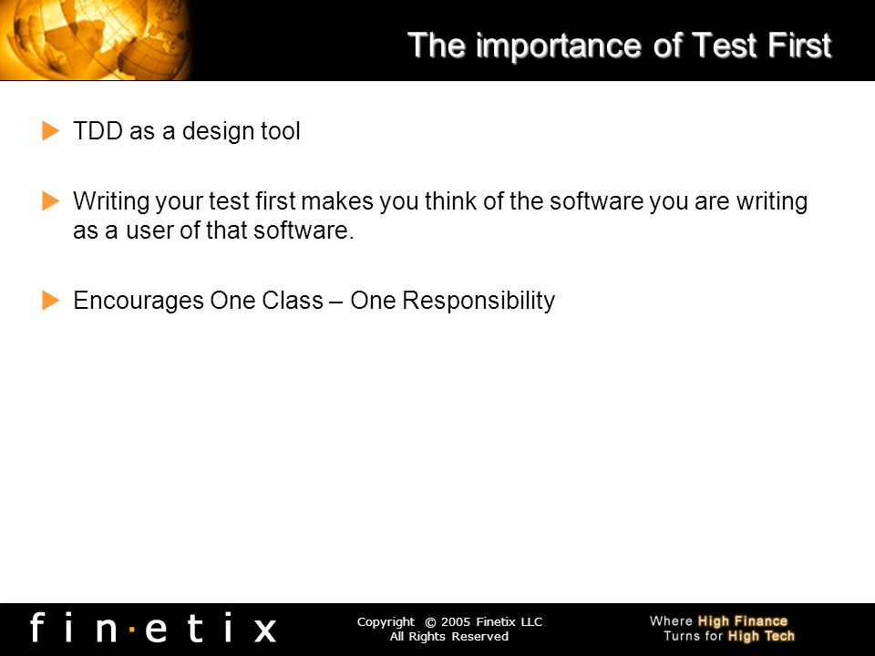 The importance of Test First