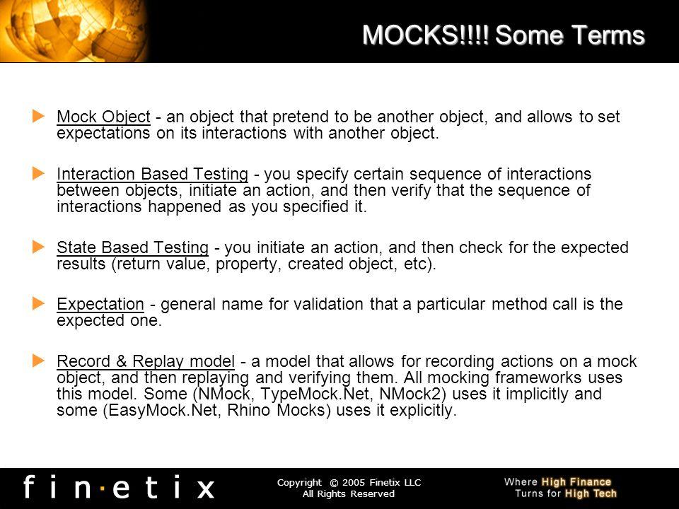 MOCKS!!!! Some Terms