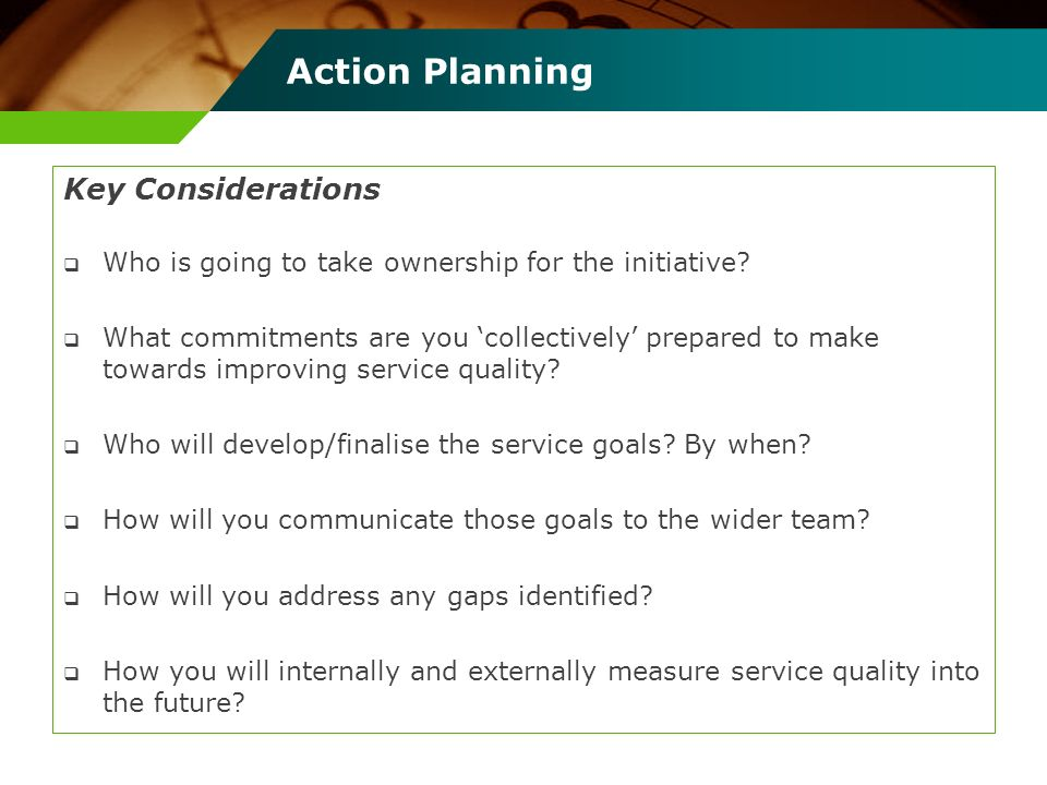 Action Planning Key Considerations