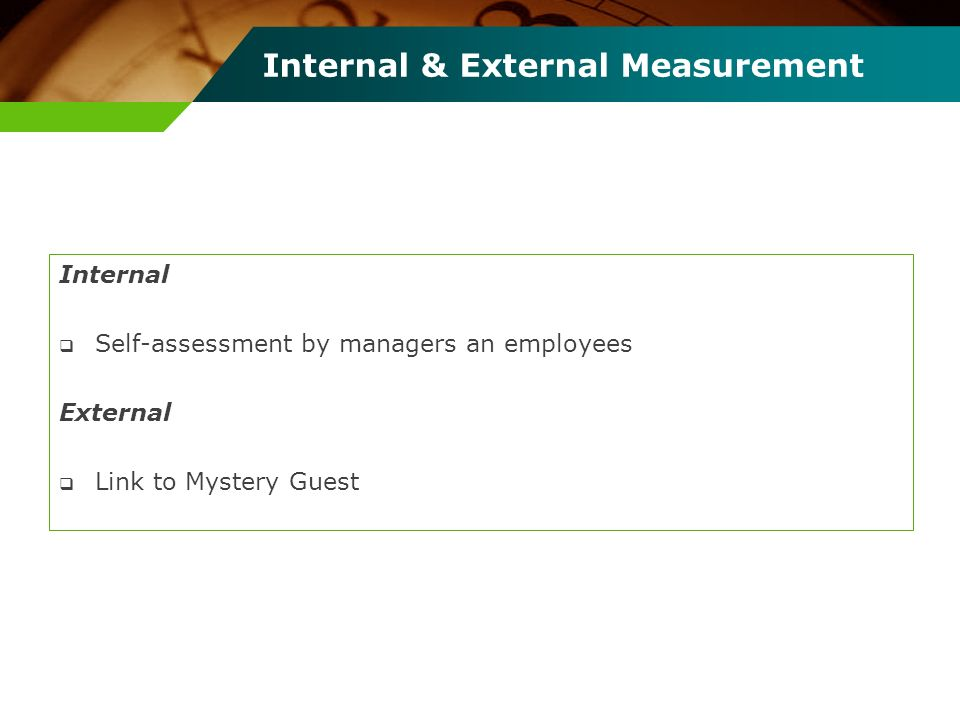 Internal & External Measurement