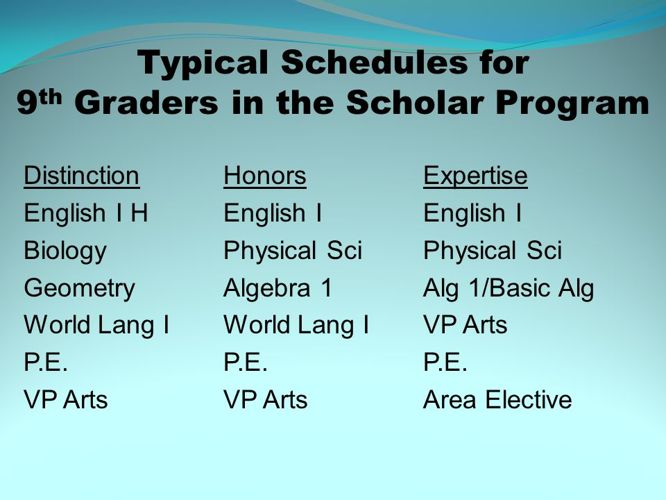 Typical Schedules for 9th Graders in the Scholar Program