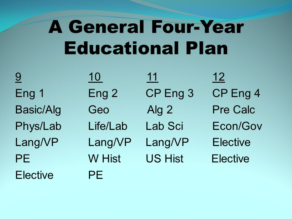 A General Four-Year Educational Plan
